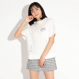 パッチワーク風Tシャツ (オフホワイト)