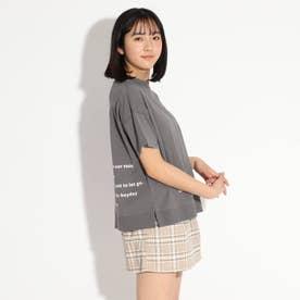 パッチワーク風Tシャツ (チャコールグレー)