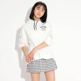 袖開きシャツヘムパーカー (オフホワイト)