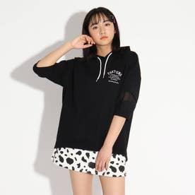 袖開きシャツヘムパーカー (ブラック)