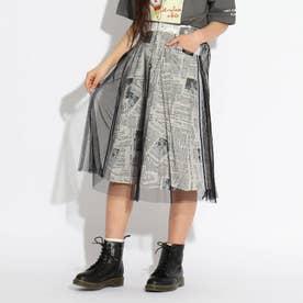 チュールレイヤードスカート (ブラック×ホワイト)