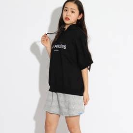 半袖パーカー+ミニスカートセット (ブラック)