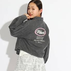 ★ニコラ掲載★クロップド丈シャツブルゾン+TシャツSET (ブラック)