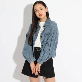 ★ニコラ掲載★クロップド丈シャツブルゾン+TシャツSET (ライトブルー)