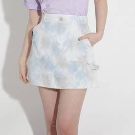★ニコラ掲載★スカート見えマーブルショートパンツ (サックス)