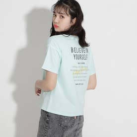 ★ニコラ掲載★パイピングロゴコットンTシャツ (ライトグリーン)