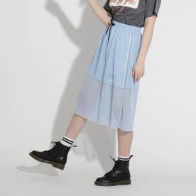 メッシュレイヤードスカート (サックス)