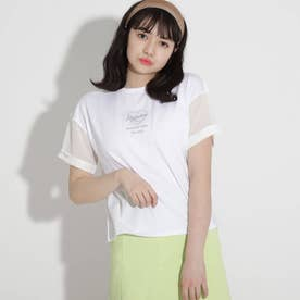 シアースリーブ刺しゅうハートTシャツ (オフホワイト)
