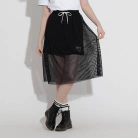メッシュレイヤードスカート (ブラック)