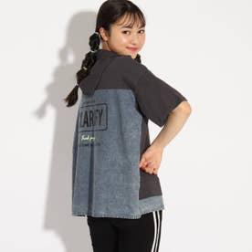 バックシャツ切り替えパーカー (チャコールグレー)
