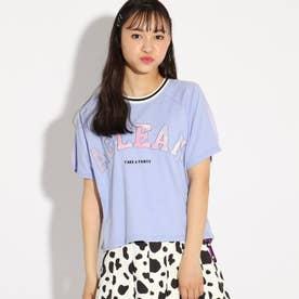 アップリケクロップドTシャツ (ライトブルー)