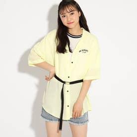 ★ニコラ掲載★プリントシャツ+Tシャツ+ベルトSET (ライトグリーン)