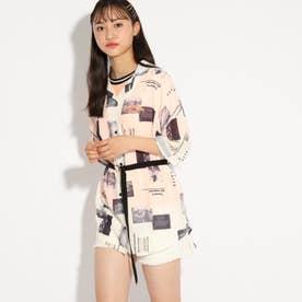 ★ニコラ掲載★プリントシャツ+Tシャツ+ベルトSET (オフホワイト)
