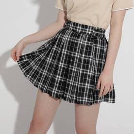 ★ニコラ掲載★サイドバックルプリーツスカート (ブラック×チェック)