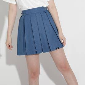 ★ニコラ掲載★サイドバックルプリーツスカート (ブルー)