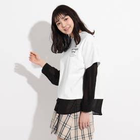 シアーシャツフェイクレイヤードTシャツ (オフホワイト)