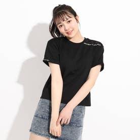 肩編み上げTシャツ (ブラック)