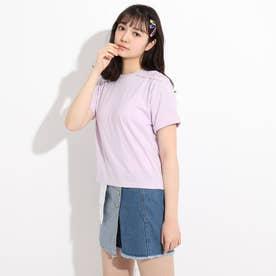 肩編み上げTシャツ (ライトパープル)