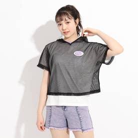 メッシュクロップド丈パーカー+Tシャツ セット (オフホワイト)