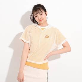 メッシュクロップド丈パーカー+Tシャツ セット (レモンイエロー)