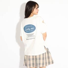 バックルアップリケ袖あきTシャツ (オフホワイト)