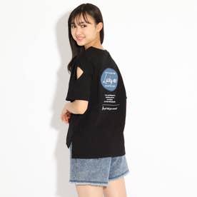 バックルアップリケ袖あきTシャツ (ブラック)