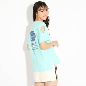 バックルアップリケ袖あきTシャツ (ライトグリーン)