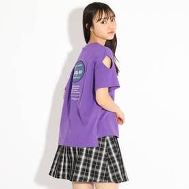 バックルアップリケ袖あきTシャツ (パープル)