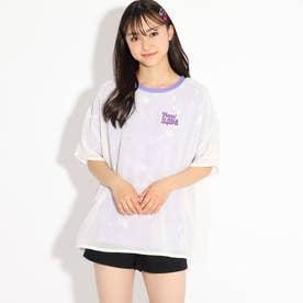 シアーレイヤードタイダイペイントTシャツ (ロイヤルパープル)