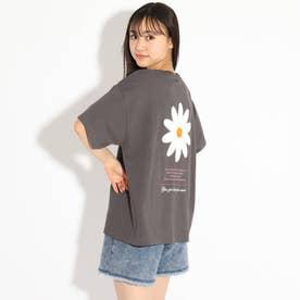 フラワーアップリケTシャツ (チャコールグレー)