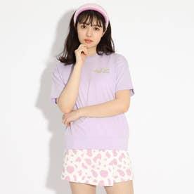【コットン100%】バックバルーンちびロゴTシャツ (ライトパープル)