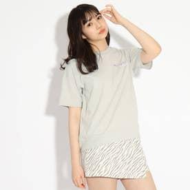 【コットン100%】バックバルーンちびロゴTシャツ (ライトグレー)