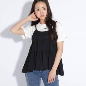 ティアードキャミソール+Tシャツシャツセット (ブラック)