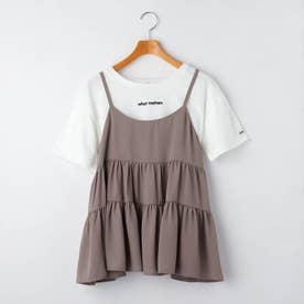 ティアードキャミソール+Tシャツシャツセット (ダークブラウン)