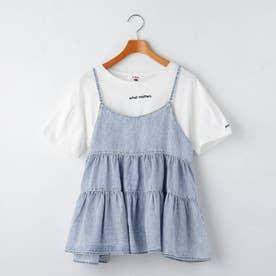 ティアードキャミソール+Tシャツシャツセット (サックス)
