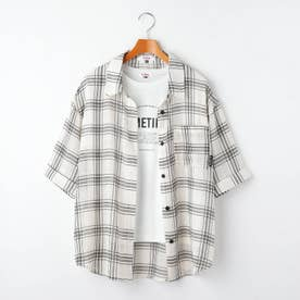 シアーチェックシャツ+ロゴTシャツセット (オフホワイト)