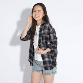 シアーチェックシャツ+ロゴTシャツセット (ブラック)