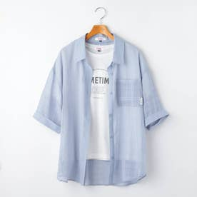 シアーチェックシャツ+ロゴTシャツセット (サックス)