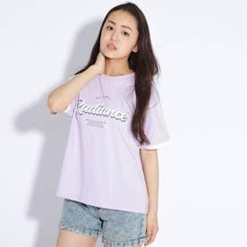 袖レイヤード風ロゴTシャツ (ライトパープル)