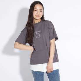 ロゴ刺しゅうTシャツ+付け裾セット (チャコールグレー)
