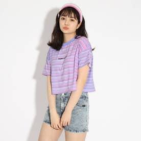 ★ニコラ掲載★クロップドボーダーTシャツ (ライトパープル)
