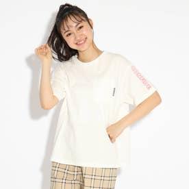 胸ポケット袖刺繍Tシャツ (オフホワイト)