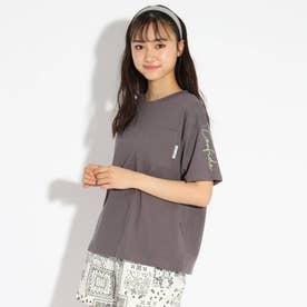 胸ポケット袖刺繍Tシャツ (チャコールグレー)