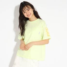胸ポケット袖刺繍Tシャツ (ライムイエロー)