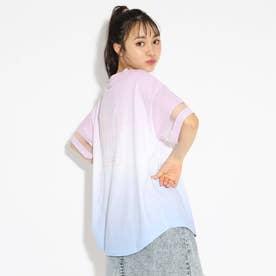 袖シアー切り替えグラデーションTシャツ (ピンクブルー)