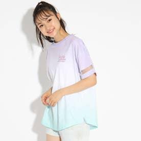 袖シアー切り替えグラデーションTシャツ (ラベンダーミント)