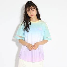 袖シアー切り替えグラデーションTシャツ (レインボー)