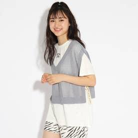 ★ニコラ掲載★【洗える】ニットべスト+Tシャツセット (サックス)