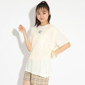 ★ニコラ掲載★【洗える】ニットべスト+Tシャツセット (オフホワイト)