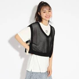 ★ニコラ掲載★【洗える】ニットべスト+Tシャツセット (ブラック)
